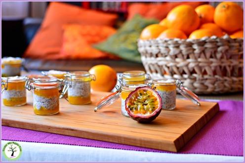 Pudding aux graines de chia, noix de coco et fruit de la passion.