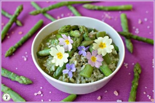 Recette de risotto vert aux asperges et à la spiruline